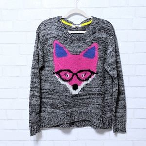 Cozy Knit Marled Fox Sweater Large
